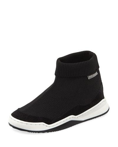 Suede-Trim Sock Sneaker  Toddler