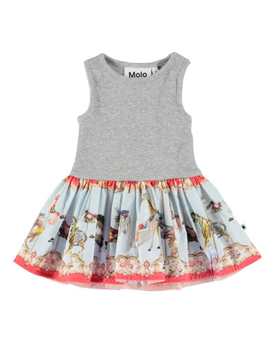 Cordelia Ribbed Dress w/ Carousel-Print Skirt  Size 3-24 Months