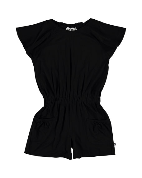 Alicia Contemporary Flutter Sleeves Romper, Size 7-16