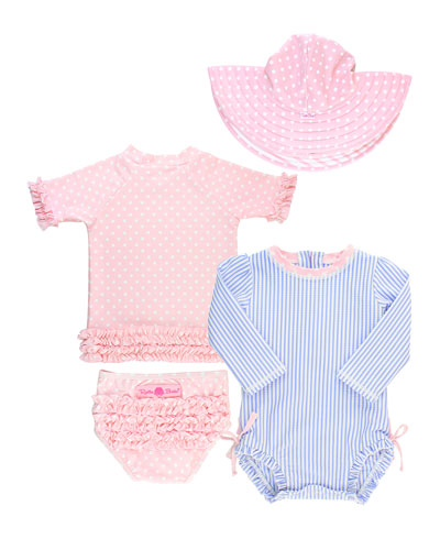 Seersucker & Polka-Dot 4-Piece Swim Layette Set  3-24 Months