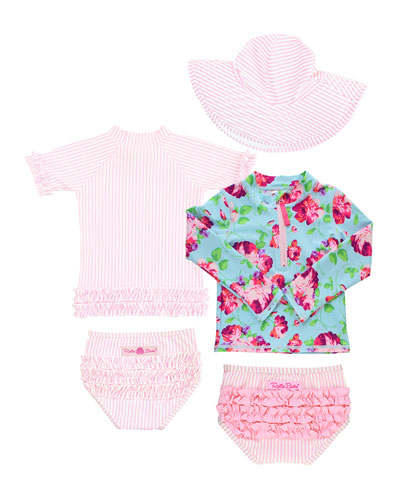 Life is Rosy Seersucker 5-Piece Swim Layette Set  Size 2-8