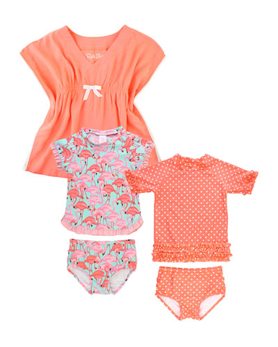 Polka-Dot & Flamingo 5-Piece Swim Layette Set  Size 2-10