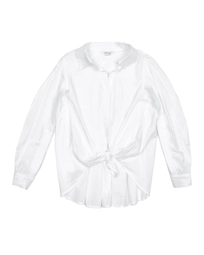 Isla Tie-Front Collared Shirt w/ Ruffle Back  Size 7-14