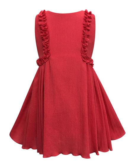 Crinkled Ruffle-Trim Dress, Size 4-6
