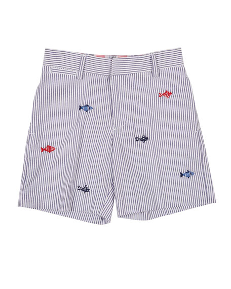 Florence Eiseman Striped Seersucker Short with Fish Embroidery,