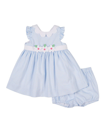 Check Pique Flowers Dress with Bloomers  Size 3-24 Months