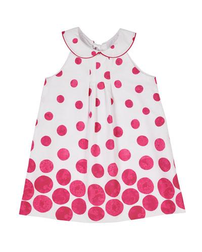 Border Circle-Print Shift Dress with Collar  Size 2-4T