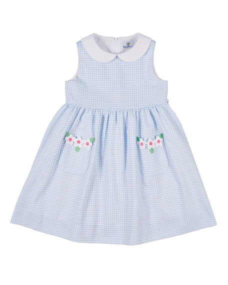 Florence Eiseman Collared Check Pique Dress with Flower,