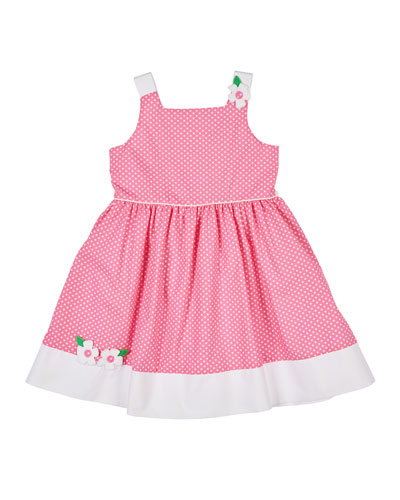 Coral Gables Dot Dress with Flowers  Size  2-6X