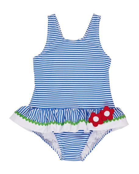 Florence Eiseman Striped Seersucker One-Piece Swimsuit, Size 2-6X