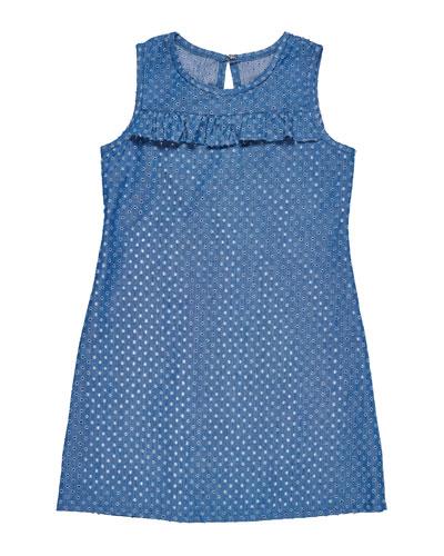 Eyelet Denim Shift Dress  Size 7-14