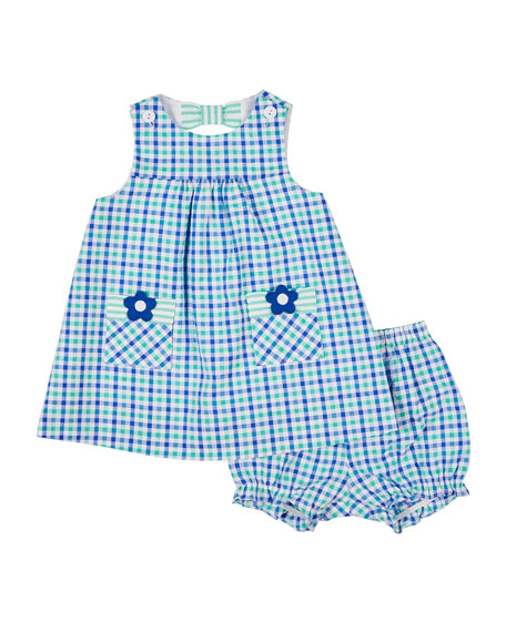 04786bfc70d0 Florence Eiseman Check Seersucker Dress with Flower Pockets ...