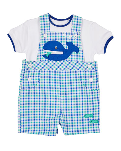 A Whale Of A Tale Check Gingham Shortall & Tee  Size 3-24 Months