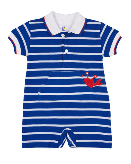 Florence Eiseman Royal Stripe Knit Crab Pique Shortall,