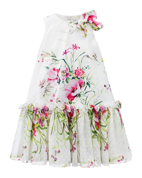 David Charles Floral Satin & Chiffon Dress, Size