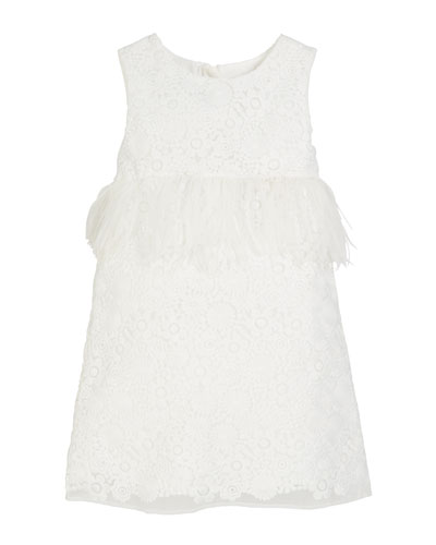 Special Occasion Feather-Trim Lace Dress  Size 2-4
