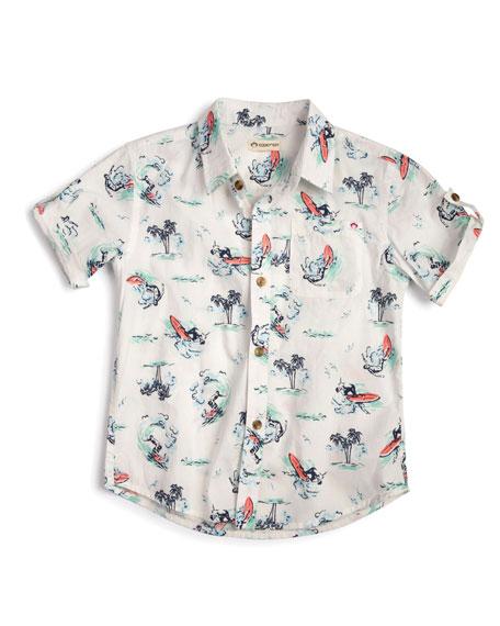 Appaman Surf-Print Collared Short-Sleeve Shirt, Size 2-14
