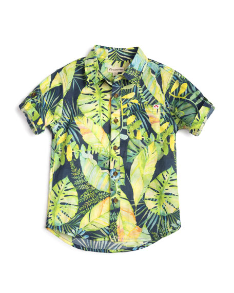 Botanical Leaf-Print Collared Shirt, Size 2-14