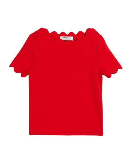 Scalloped Knit Short-Sleeve Sweater, Size 7-16