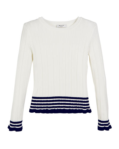 Ribbed Striped-Trim Sweater  Size 7-16