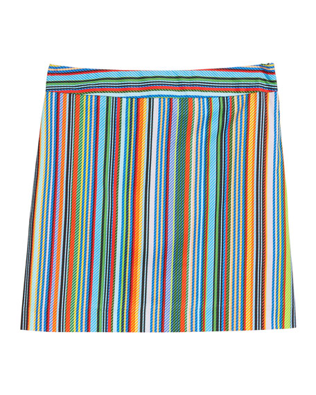 Multi-Stripe Modern Mini Skirt, Size 7-16