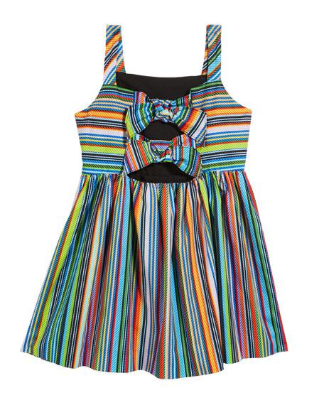 Emaline Striped Dress w/ Bows, Size 4-6