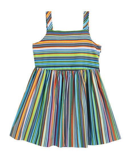 Milly Minis Emaline Striped Dress w/ Bows, Size