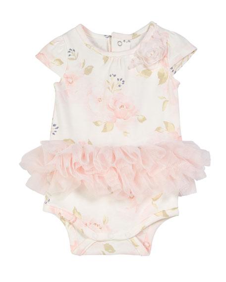 Miniclasix Floral-Print Bodysuit w/ Attached Tutu, Size 3-9