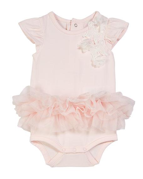 Miniclasix Butterfly Applique Bodysuit w/ Attached Tutu, Size