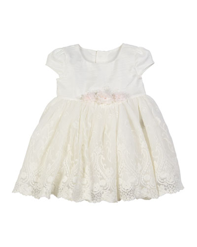 Embroidered Lace Overlay Dress  Size 3-24 Months