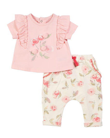 Rose Drawing Print Top w/ Matching Leggings, Size 3-24 Months