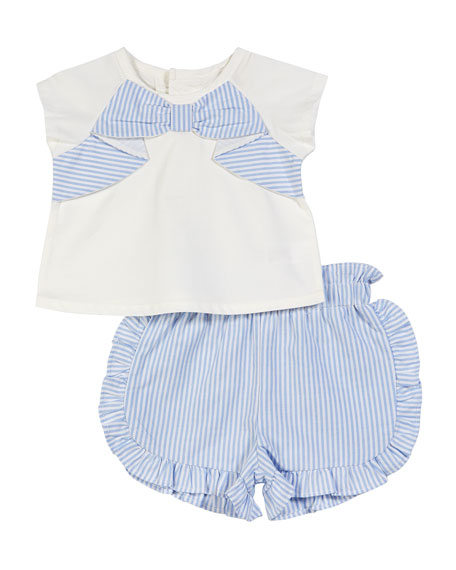 Short-Sleeve Bow Top w/ Striped Ruffle Shorts, Size 3-24 Months