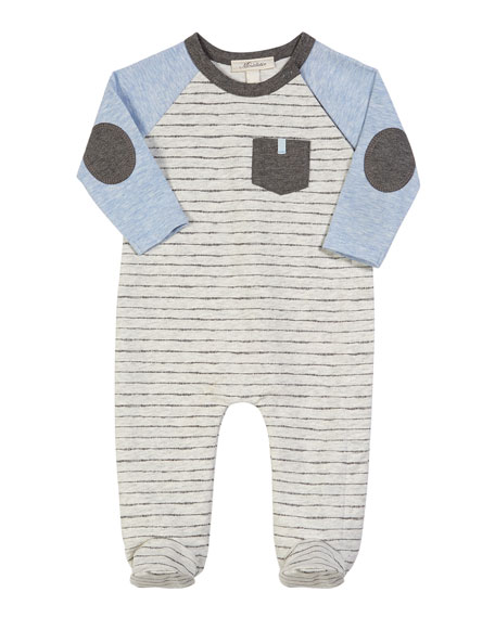 Miniclasix Colorblock Striped Footed Coverall, Size 3-9 Months