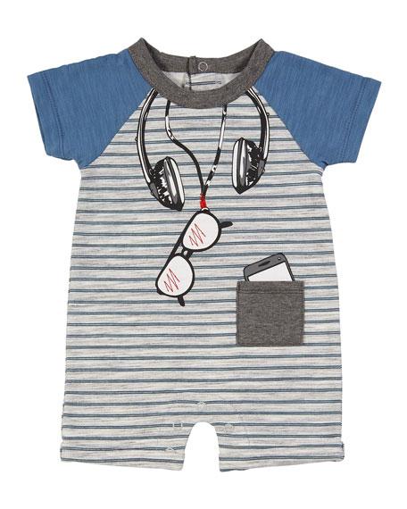 Striped Trompe l'Oeil Shortall, Size 3-9 Months
