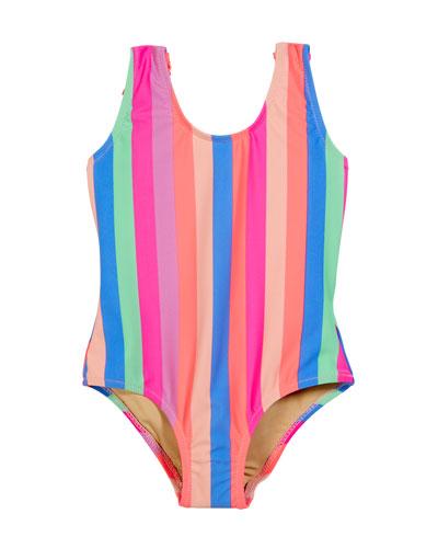 Chasing Rainbow Stripe Fringe-Back One-Piece Swimsuit  Size 2-6