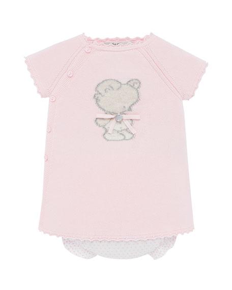Knit Bear Intarsia Dress w/ Polka-Dot Bloomers, Size 3M-2