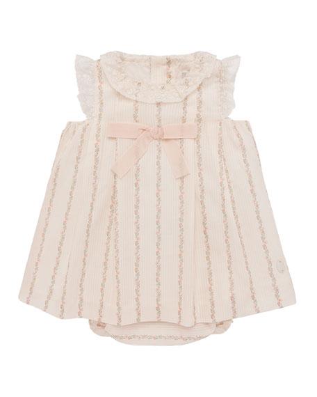 Pili Carrera Lace-Trim Floral Striped Dress w/ Bloomers,