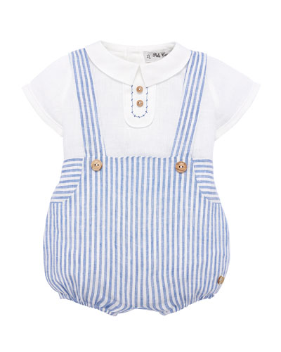Ticking Striped Suspender Trousers w/ Blouse  Size 3M-2