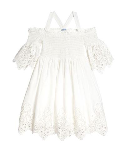 Lace-Trim Off-the-Shoulder Smocked Dress  Size 8-16