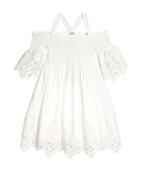 Lace-Trim Off-the-Shoulder Smocked Dress, Size 8-16