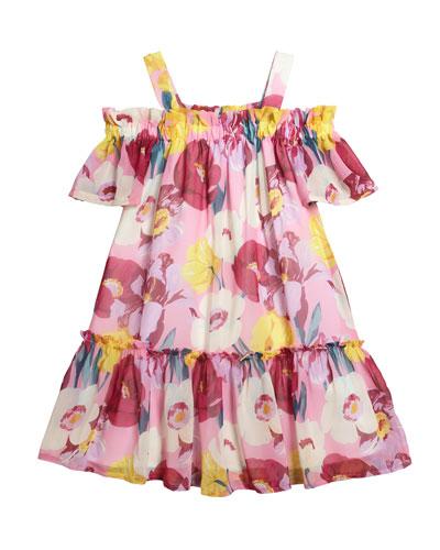 Floral Print Chiffon Dress  Size 8-16