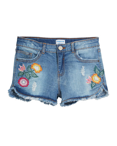 Distressed Denim Shorts w/ Floral Embroidery  Size 8-16