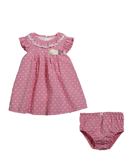 Mayoral Swiss Dot Ruffle-Trim Dress w/ Matching Bloomers,