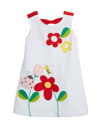 Knit Flower & Bug Applique Dress  Size 12-36 Months