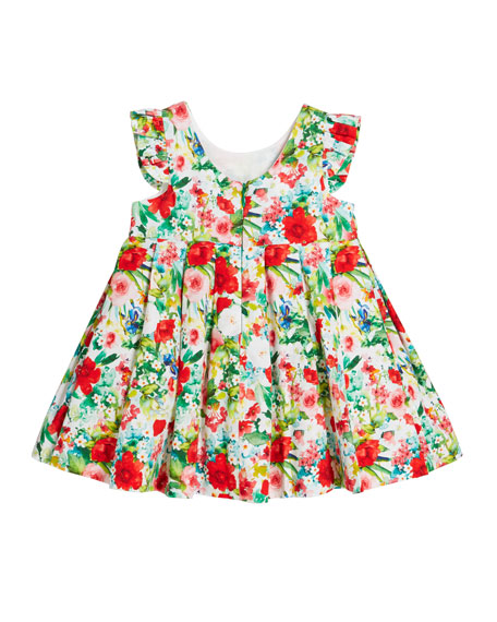 Voile Floral-Print Bow Pleated Dress, Size 12-36 Months