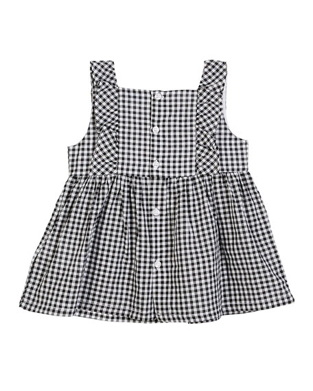 Gingham Sun Top w/ Embroidered Rose, Size 12-36 Months