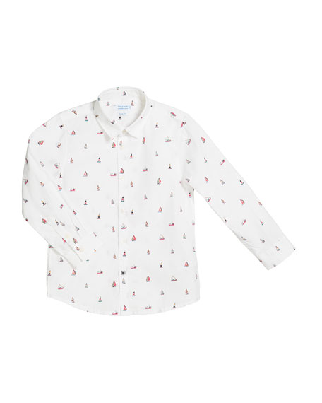 Tiny Boat Print Long-Sleeve Collared Shirt, Size 4-7