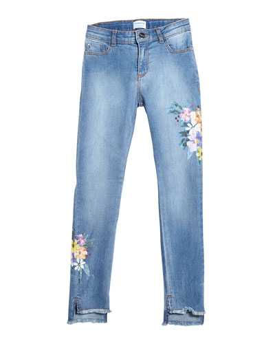 Floral Embroidered Raw-Edge Denim Jeans  Size 8-16