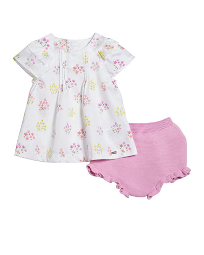Floral Pintucked Blouse w/ Knit Bloomers  Size 2-12 Months