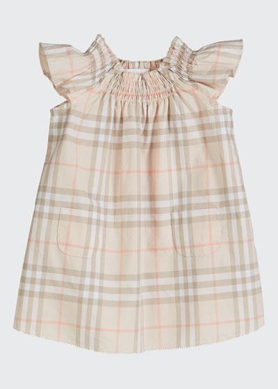 Vinya Washed Check Flutter-Sleeve Dress  Size 6M-2